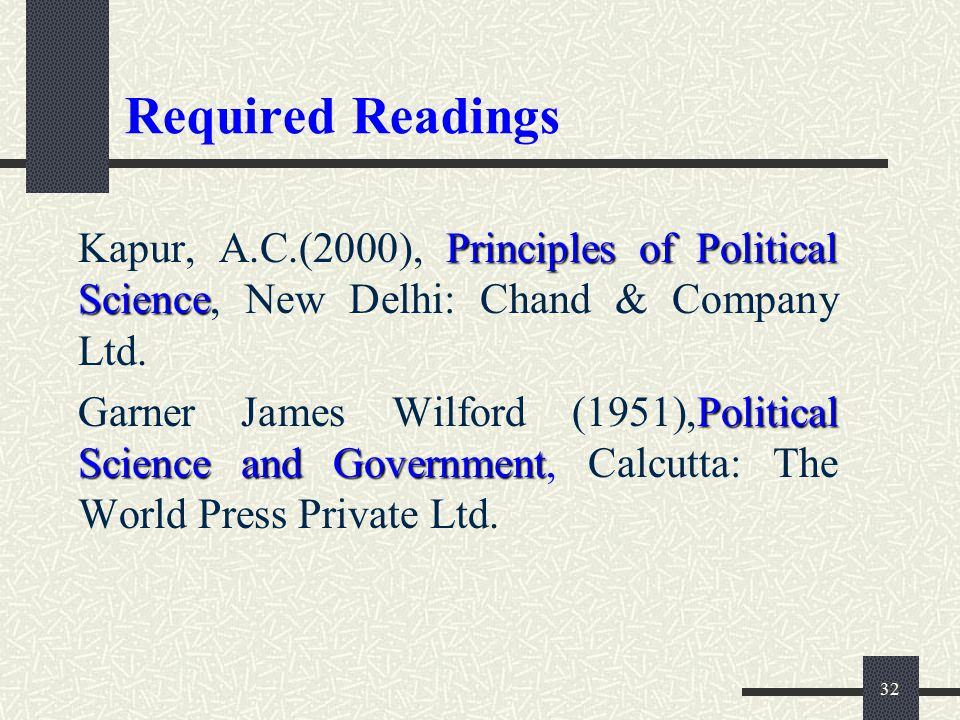 Required Readings Kapur, A.C.(2000), Principles of Political Science, New Delhi: Chand & Company Ltd.