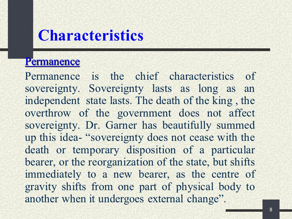 Characteristics Permanence