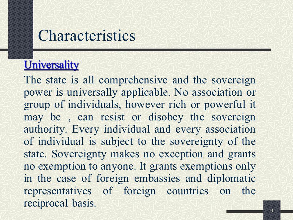 Characteristics Universality