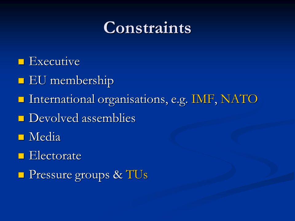 Constraints Executive EU membership
