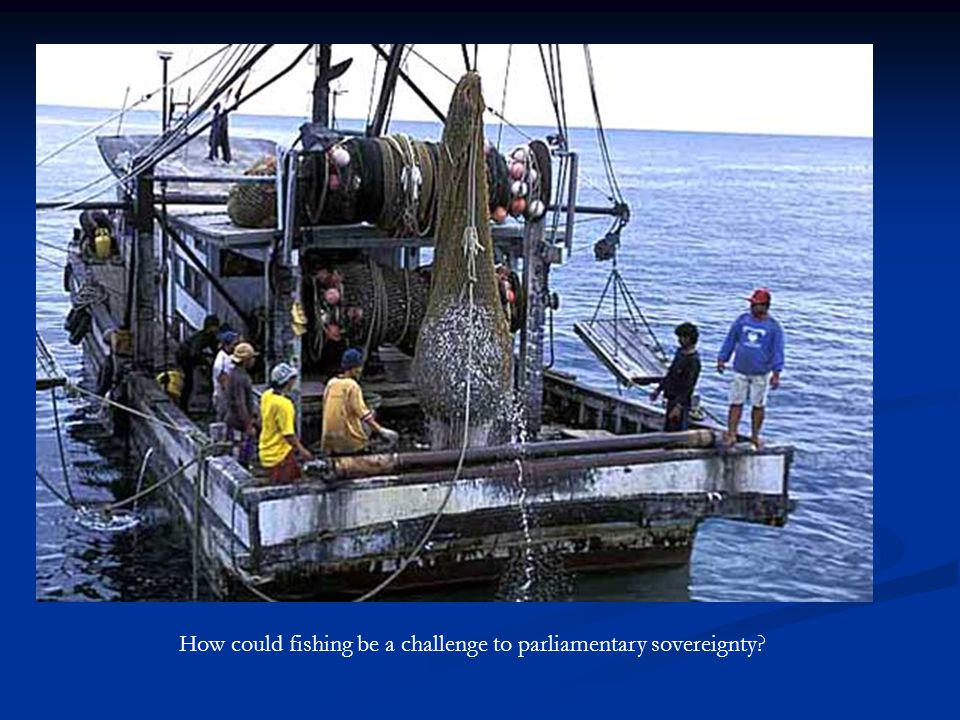 How could fishing be a challenge to parliamentary sovereignty
