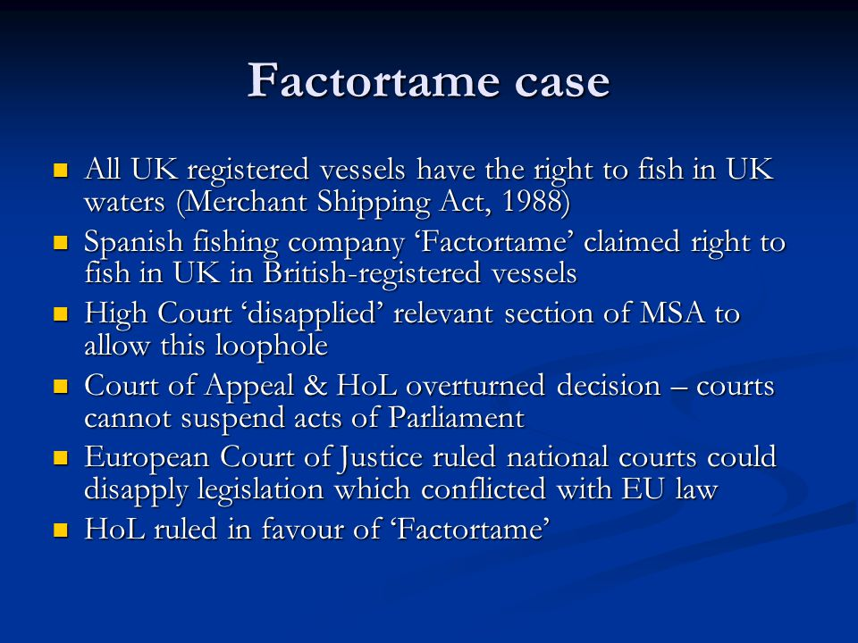 Factortame case All UK registered vessels have the right to fish in UK waters (Merchant Shipping Act, 1988)