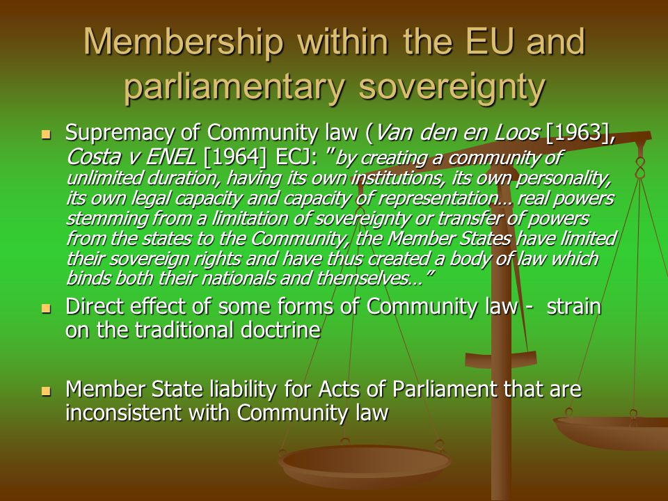 Membership within the EU and parliamentary sovereignty