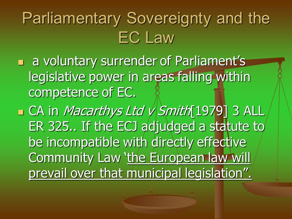 Parliamentary Sovereignty and the EC Law