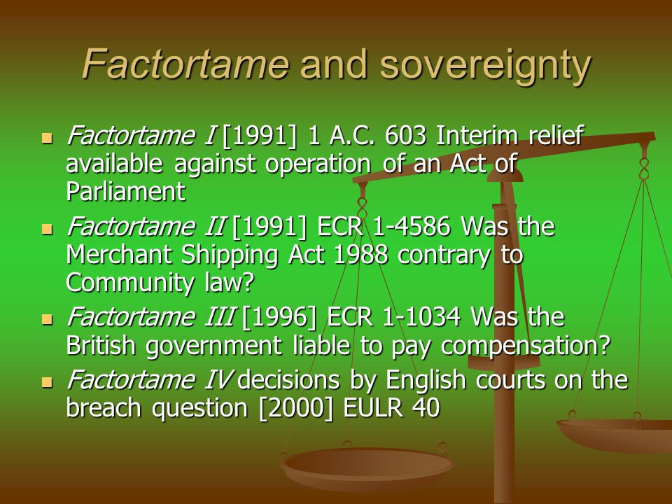 Factortame and sovereignty