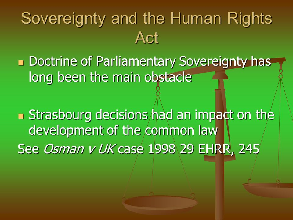 Sovereignty and the Human Rights Act