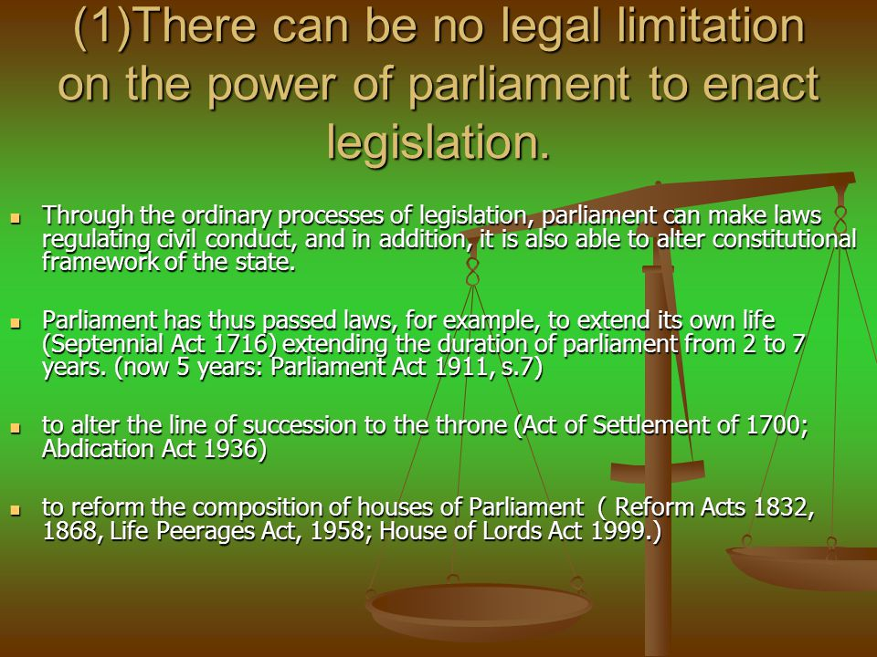 (1)There can be no legal limitation on the power of parliament to enact legislation.