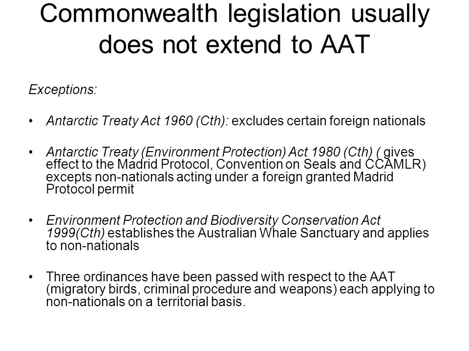 Commonwealth legislation usually does not extend to AAT