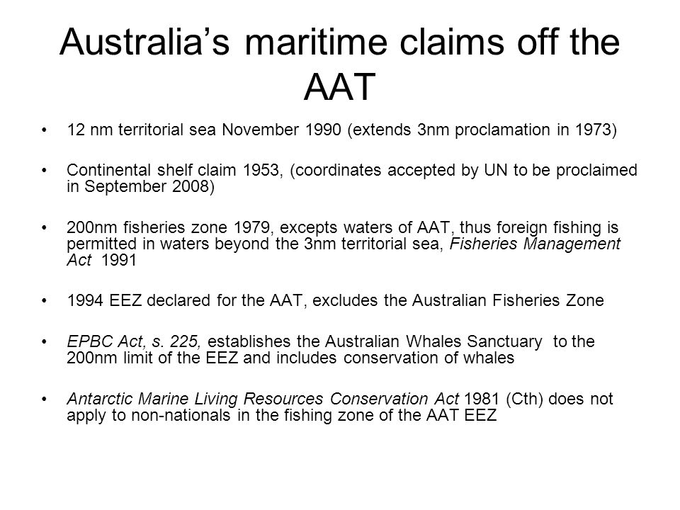 Australia's maritime claims off the AAT
