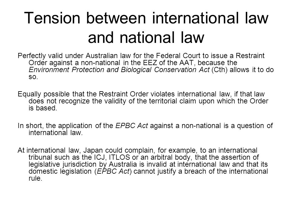 Tension between international law and national law