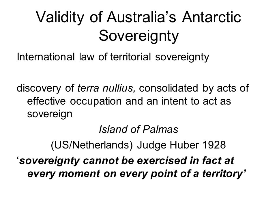 Validity of Australia's Antarctic Sovereignty