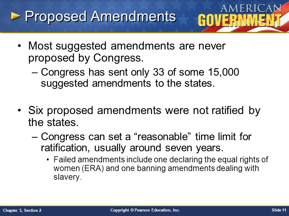 Proposed Amendments Most suggested amendments are never proposed by Congress.