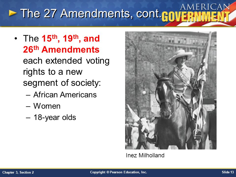 The 27 Amendments, cont. The 15th, 19th, and 26th Amendments each extended voting rights to a new segment of society: