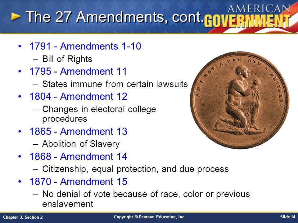 The 27 Amendments, cont. 1791 - Amendments 1-10 1795 - Amendment 11