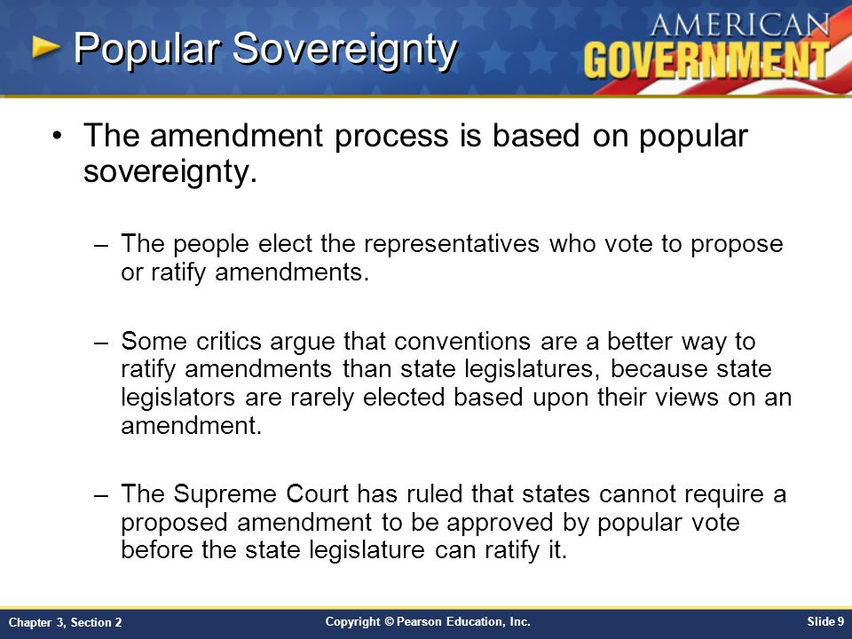 Popular Sovereignty The amendment process is based on popular sovereignty.
