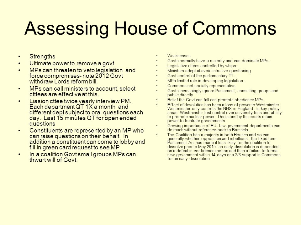 Assessing House of Commons