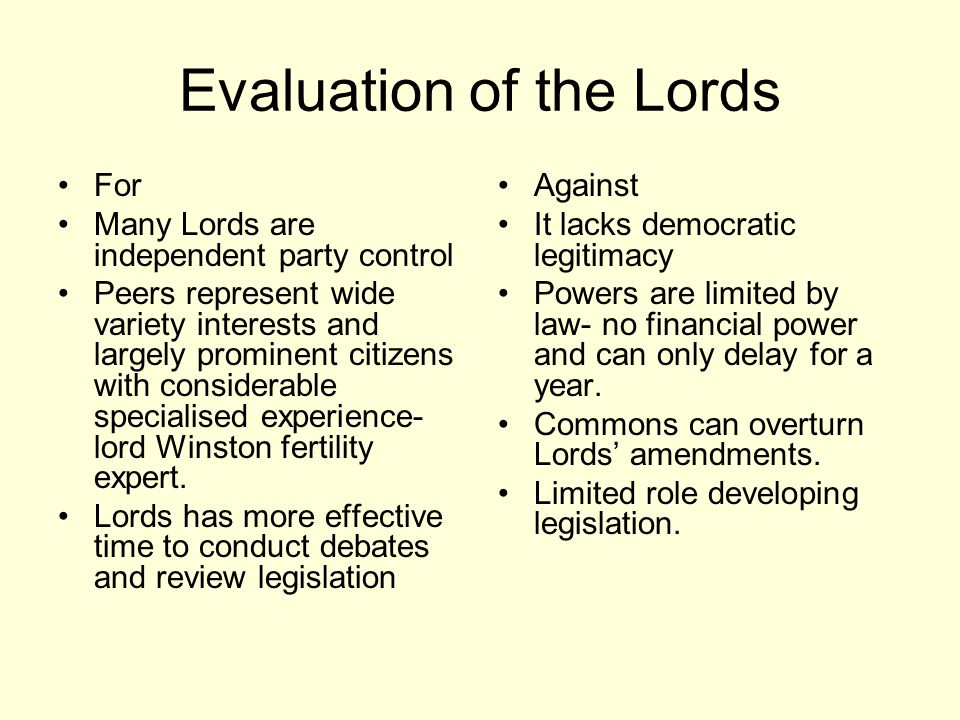 Evaluation of the Lords