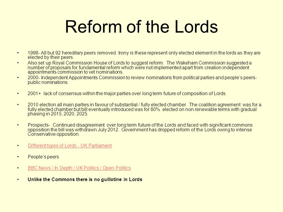 Reform of the Lords