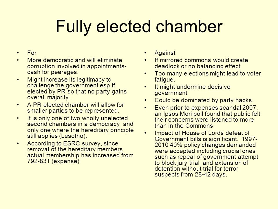 Fully elected chamber For