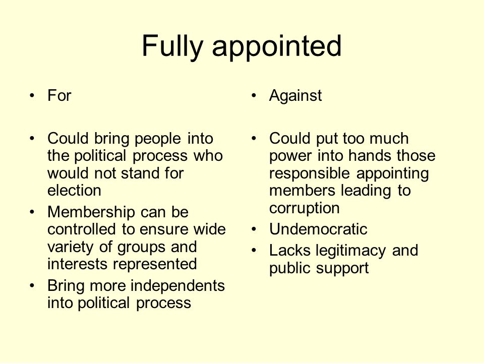 Fully appointed For. Could bring people into the political process who would not stand for election.