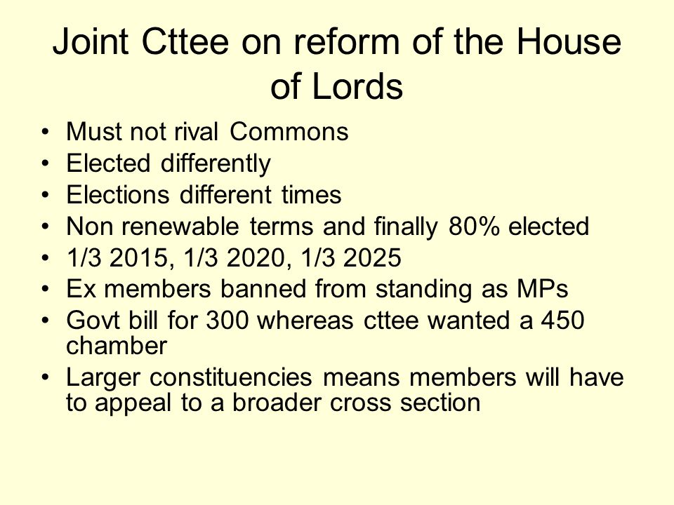 Joint Cttee on reform of the House of Lords