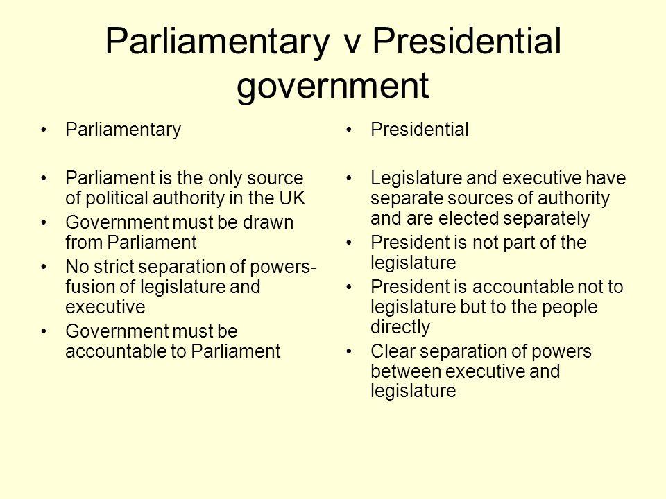 Parliamentary v Presidential government