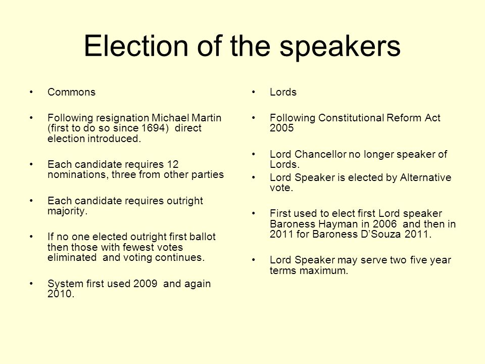 Election of the speakers