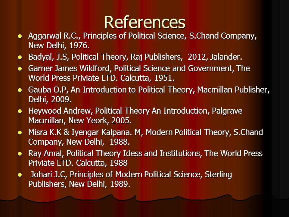 References Aggarwal R.C., Principles of Political Science, S.Chand Company, New Delhi, 1976.