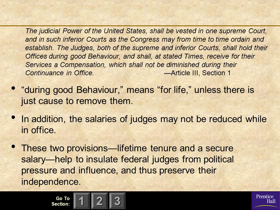 The judicial Power of the United States, shall be vested in one supreme Court, and in such inferior Courts as the Congress may from time to time ordain and establish. The Judges, both of the supreme and inferior Courts, shall hold their Offices during good Behaviour, and shall, at stated Times, receive for their Services a Compensation, which shall not be diminished during their Continuance in Office. —Article III, Section 1