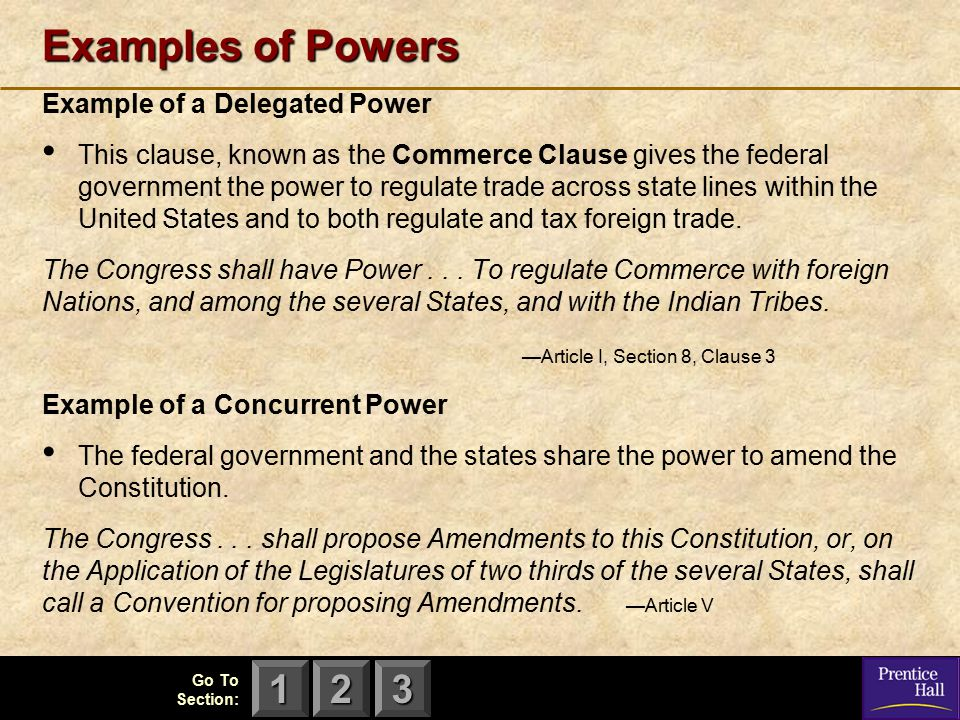 Examples of Powers Example of a Delegated Power