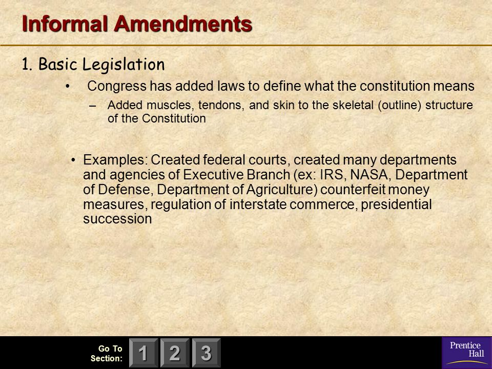 Informal Amendments 1. Basic Legislation