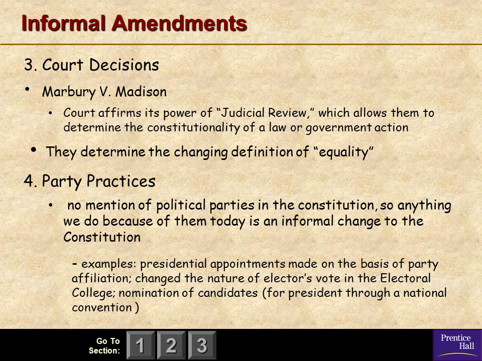 Informal Amendments 3. Court Decisions 4. Party Practices