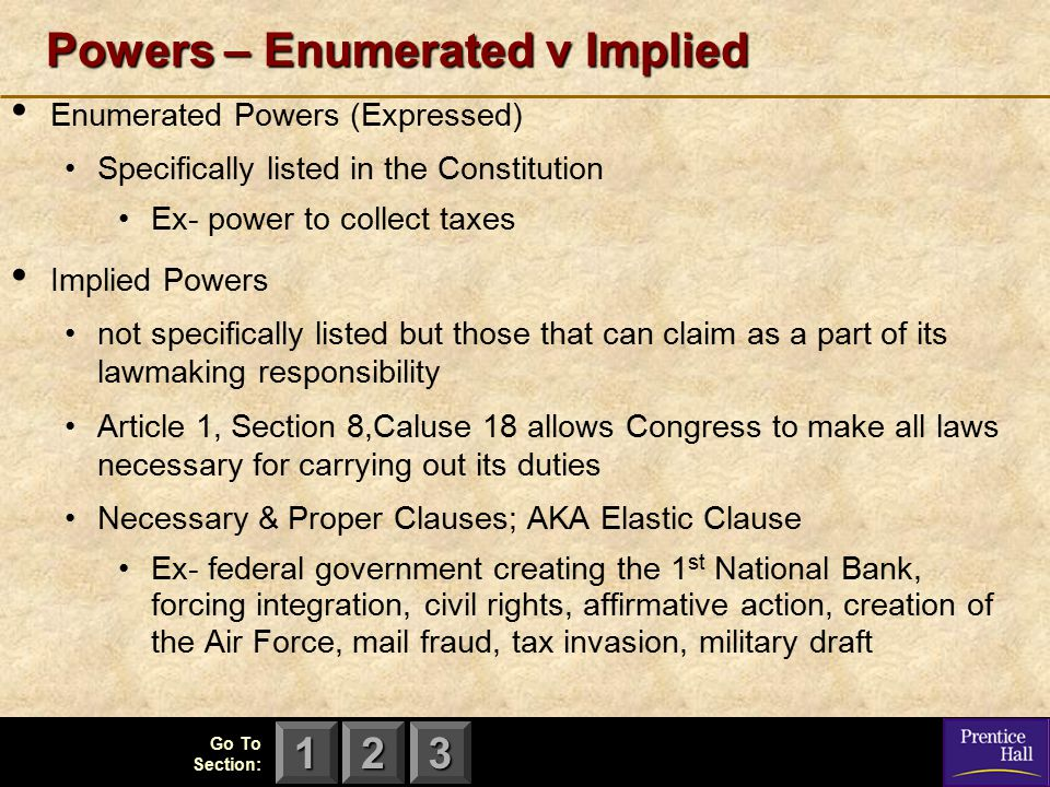 Powers – Enumerated v Implied