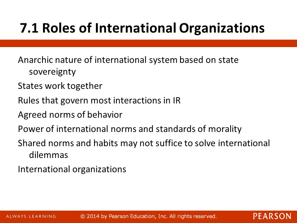7.1 Roles of International Organizations