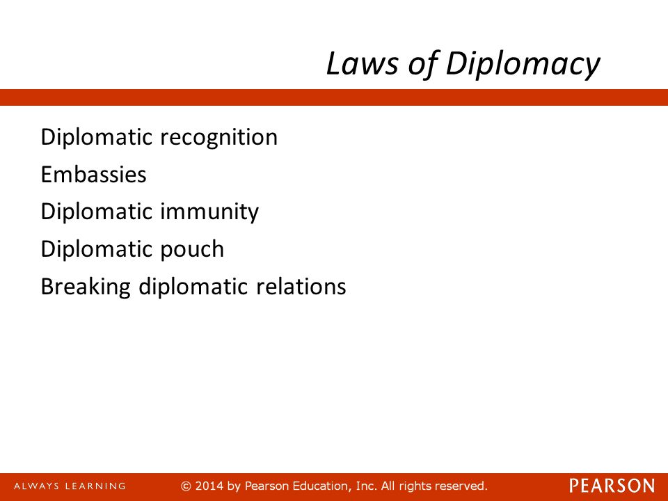 Laws of Diplomacy Diplomatic recognition Embassies Diplomatic immunity Diplomatic pouch Breaking diplomatic relations