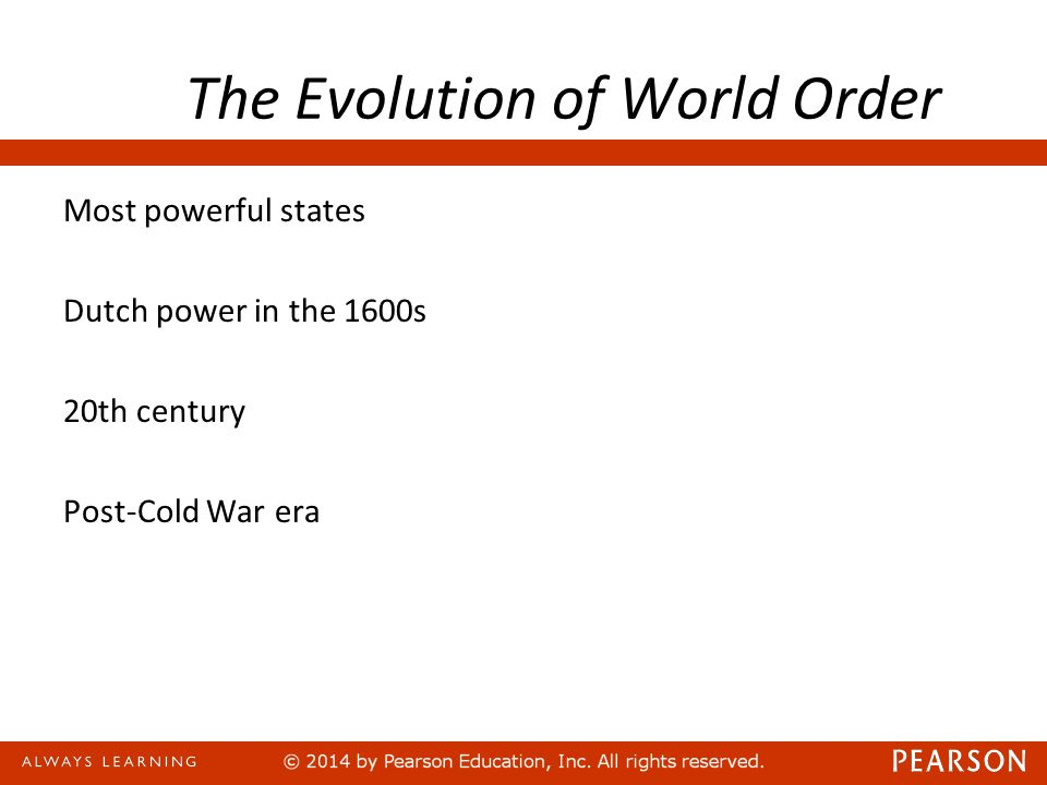 The Evolution of World Order