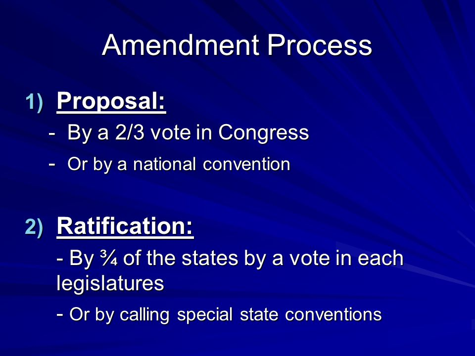 Amendment Process Proposal: Ratification: - By a 2/3 vote in Congress