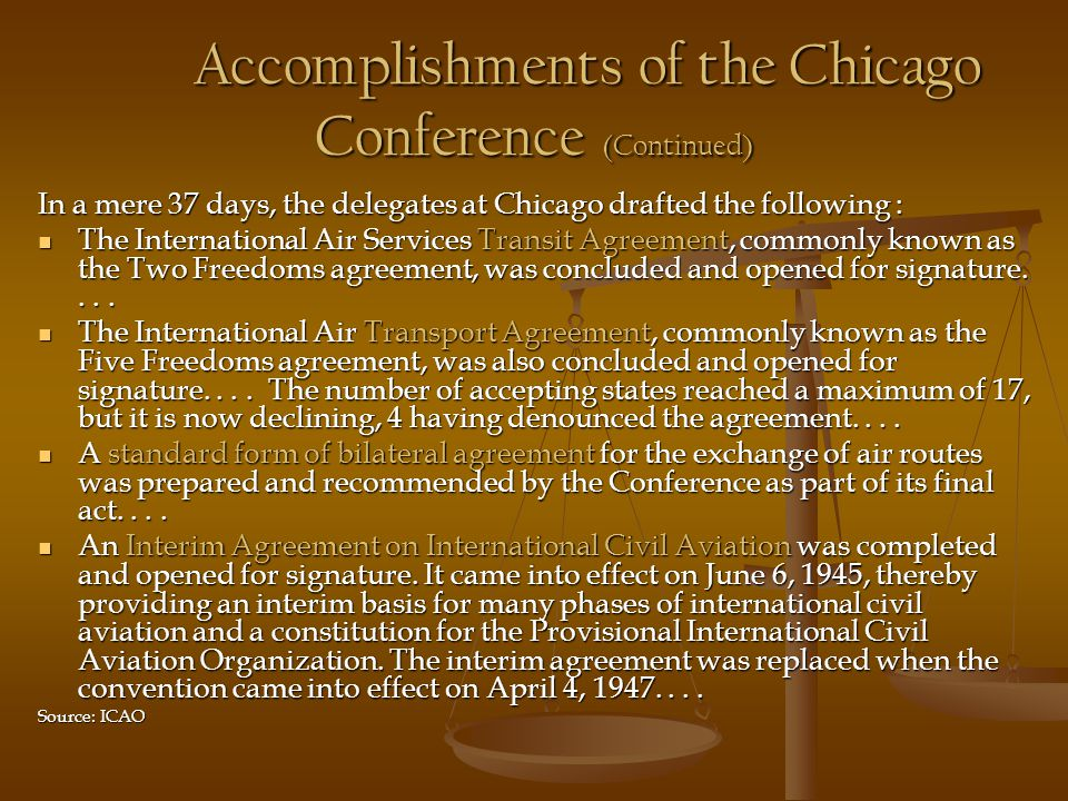 Accomplishments of the Chicago Conference (Continued)
