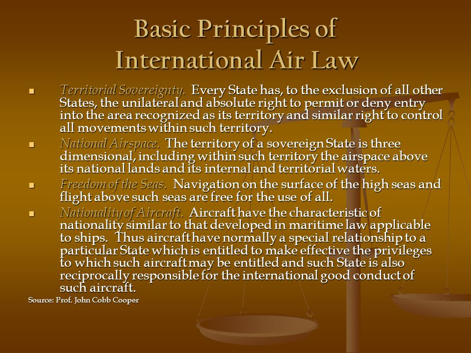 Basic Principles of International Air Law