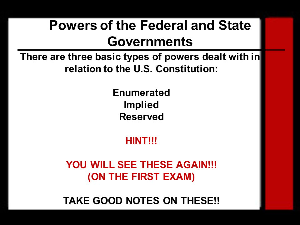 Powers of the Federal and State Governments