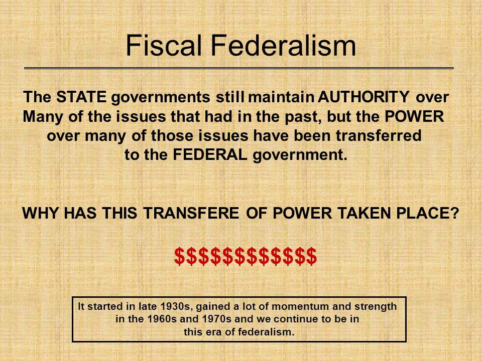 Fiscal Federalism $$$$$$$$$$$$