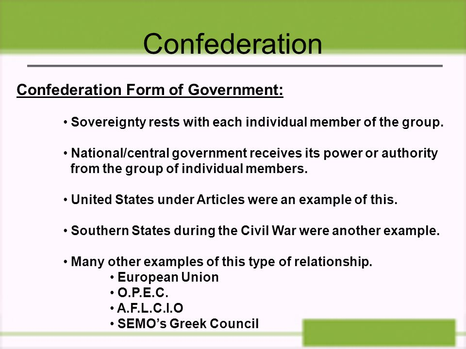 Confederation Confederation Form of Government: