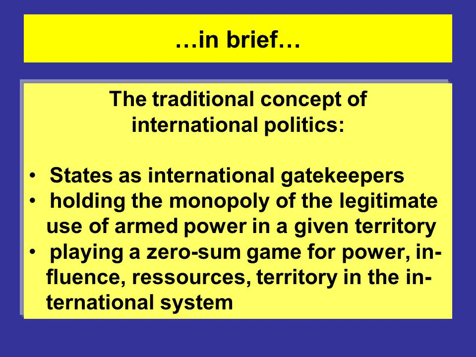 The traditional concept of international politics: