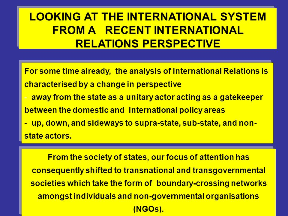 LOOKING AT THE INTERNATIONAL SYSTEM FROM A RECENT INTERNATIONAL RELATIONS PERSPECTIVE