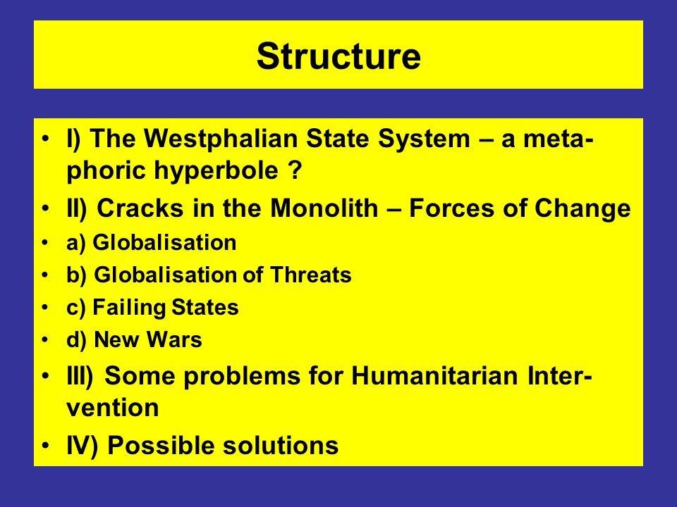 Structure I) The Westphalian State System – a meta-phoric hyperbole