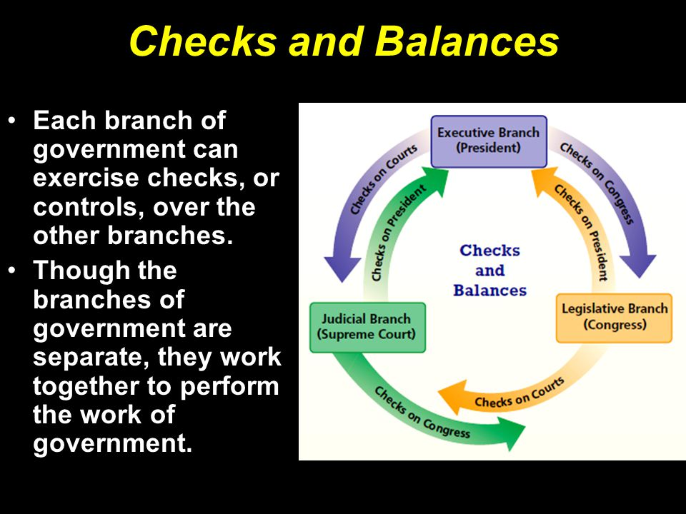 Checks and Balances Each branch of government can exercise checks, or controls, over the other branches.