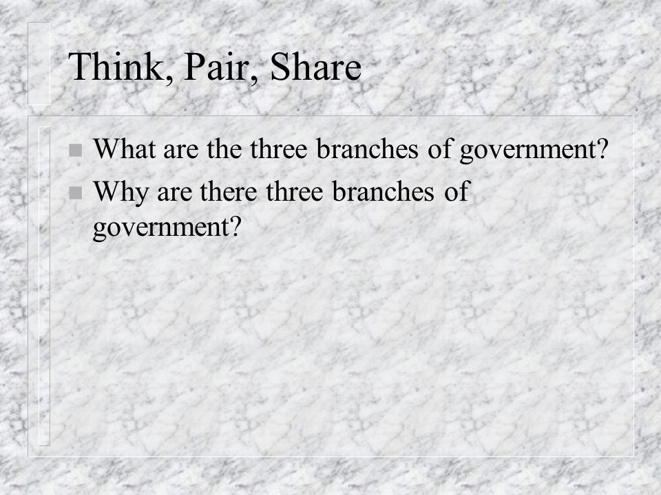 Think, Pair, Share What are the three branches of government
