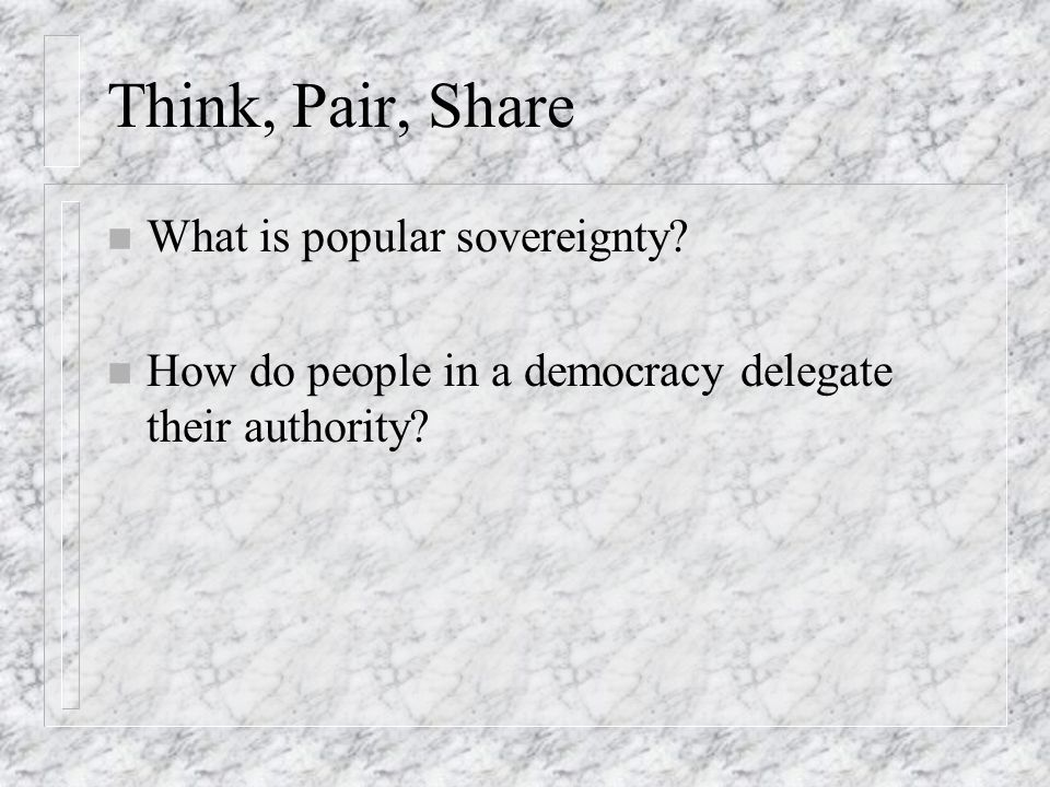 Think, Pair, Share What is popular sovereignty