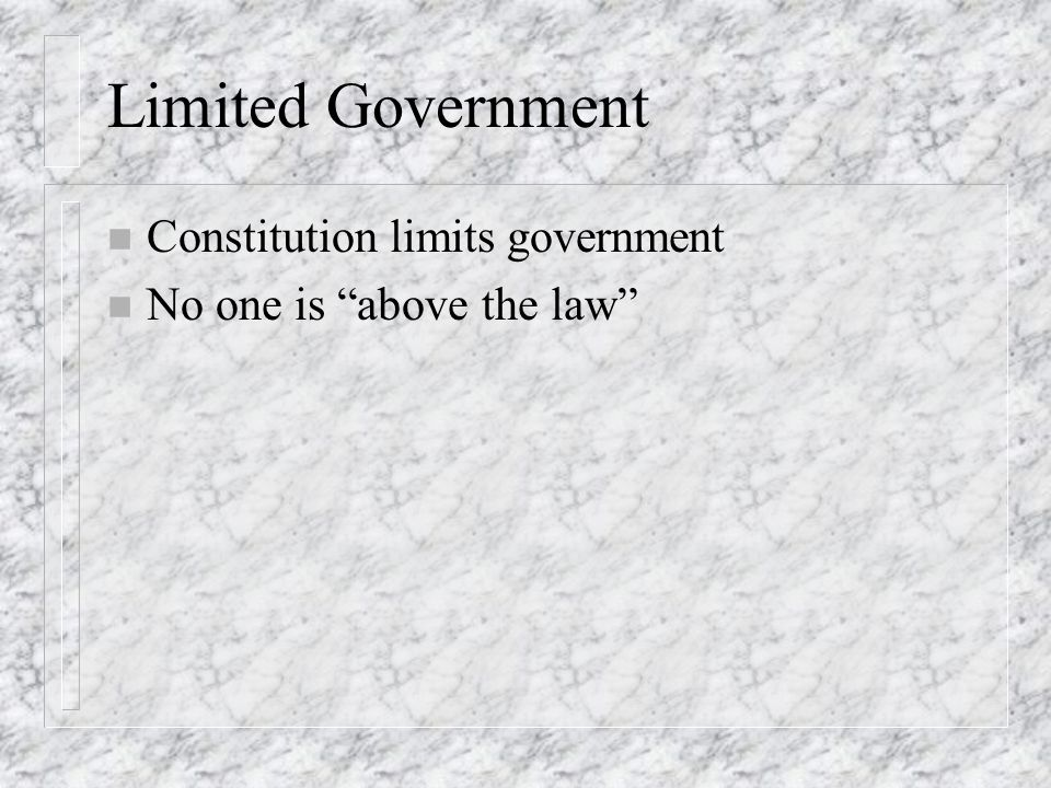 Limited Government Constitution limits government
