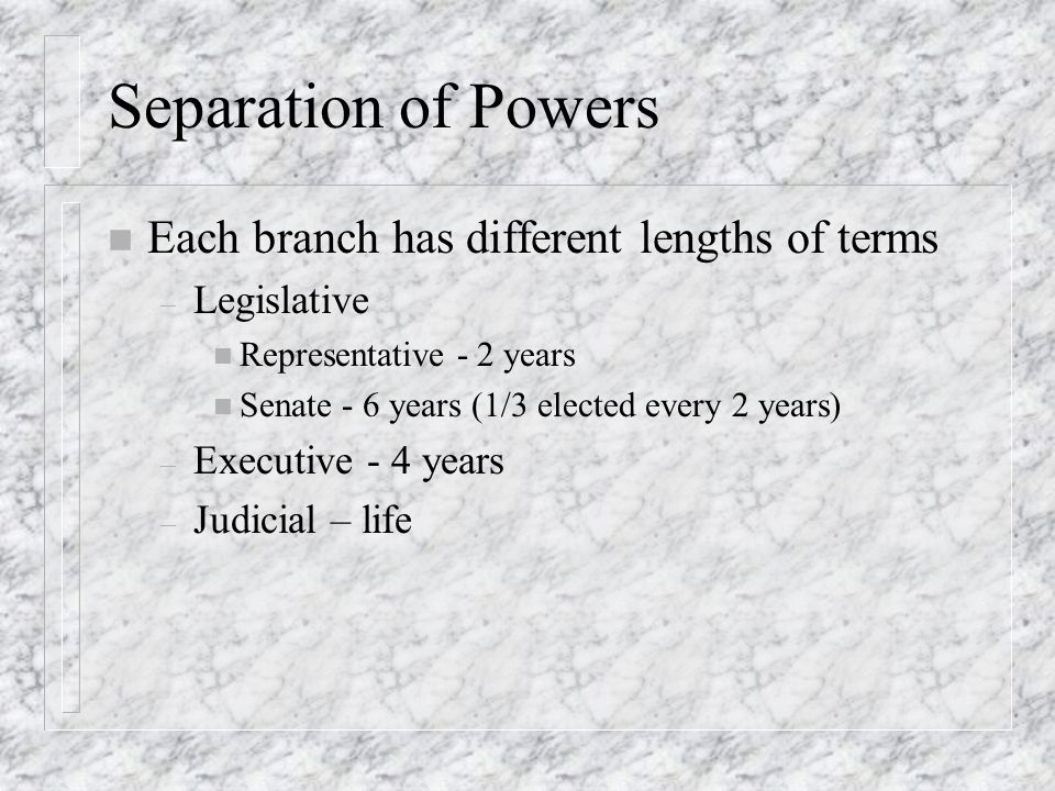 Separation of Powers Each branch has different lengths of terms